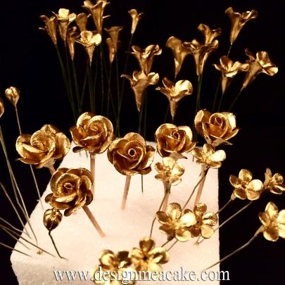 Miniature handmade gumpaste flowers.