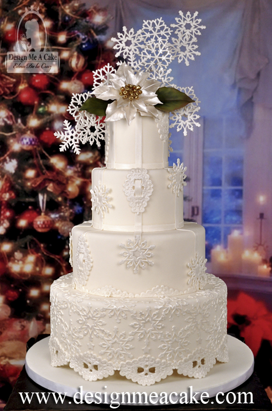 Snowflake Holiday Wedding Cake
