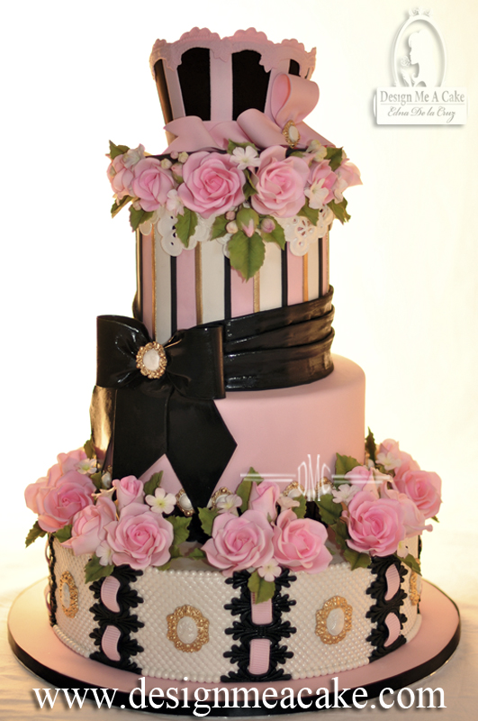 Pink And Black Quinceañera Cake