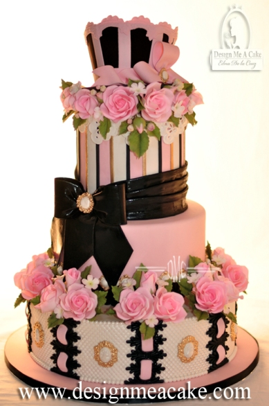 Pink and black quinceañera cake.
